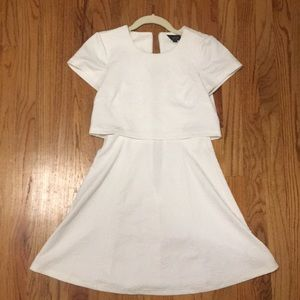 Topshop White Brocade Connected Two-Piece Dress